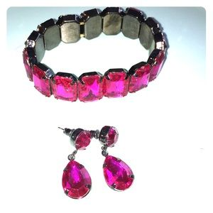 Jewelry - Bright Pink Bracelet and Earring Set